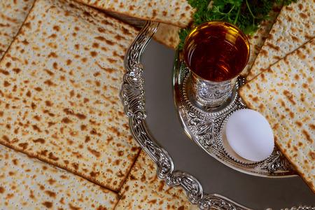 Judaism and religious on jewish matza on passover prayer