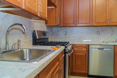 Home improvement remodel modern kitchen interior cabinet Stockfoto