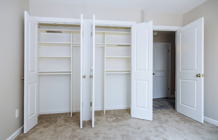 Home renovation industry new home installation of shelves with room area