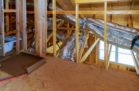 Ventilation installation air conditioner system in a frame house building