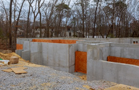 Foundation of concrete construction works in new homes unfinished construction