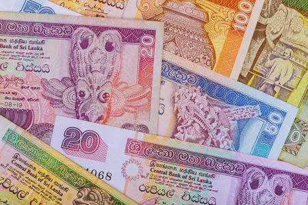Sri Lanka rupee money from various composition denominations Фото со стока