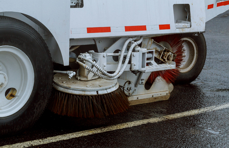 Car street sweeper machine cleaning in the road cleaning asphalt
