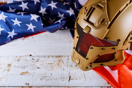 Military helmets of United States flag on Veterans or Memorial day