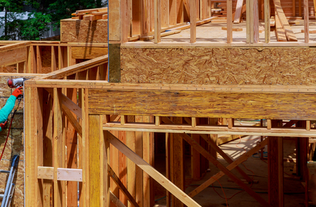 Building frame structure on a new development timber frame for a progressing house.