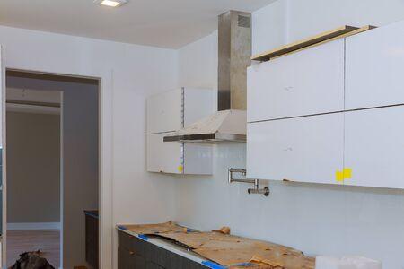 Home improvement remodel modern kitchen interior cabinet 写真素材