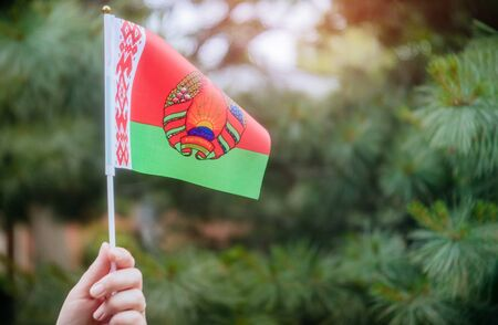 Flag Day with Belarussian flag in hand in sunny day Independence Day concept