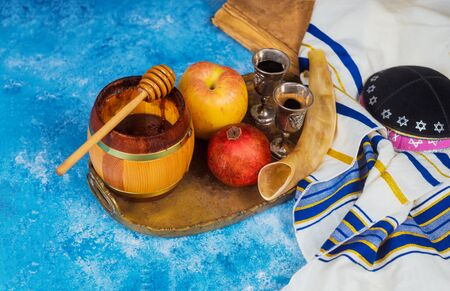 Jewish Holiday Rosh hashanah jewish New Year holiday traditional symbols Stock Photo