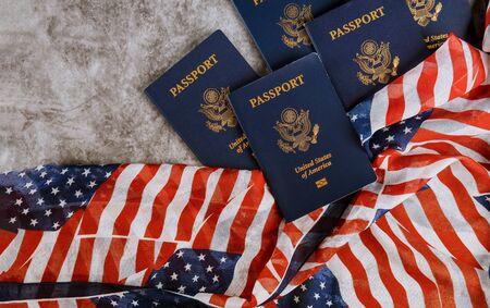 New Blue United States of America Passport on United States of America flag background