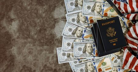 American passport, United State, flags and US dollars