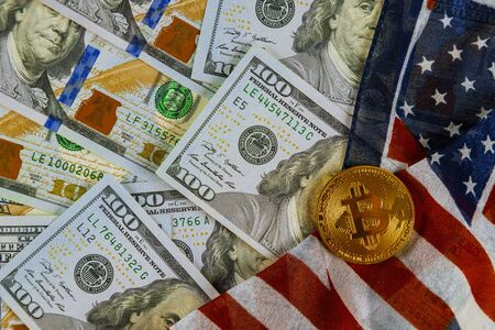 Coins Bitcoin on American flag background with US dollars Zdjęcie Seryjne