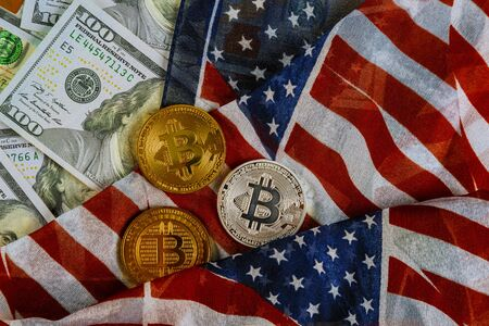 American flag on US dollars background and bitcoin, new economy on the new virtual money trading Zdjęcie Seryjne