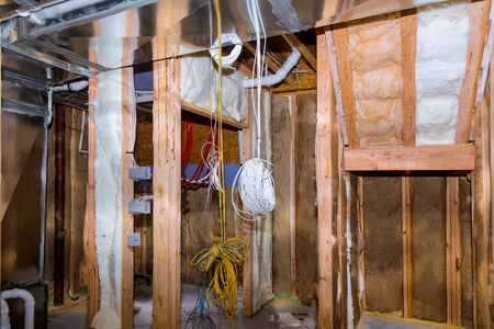 Electrical wiring installed in residential home contruction in the basement