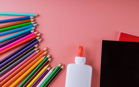 School supplies ,glue pencil and notebook for back to school, college Foto de archivo