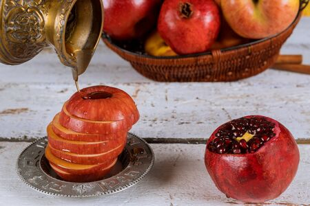 Jewish Holiday Rosh hashanah jewish New Year holiday traditional symbols Stockfoto