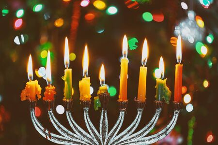 Jewish holiday, Holiday symbol Hanukkah Brightly Glowing Hanukkah Menorah soft focus
