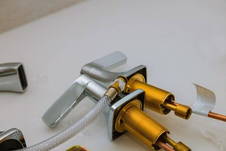Installs a new faucet for a sink in a bathroom, plumbing repair service