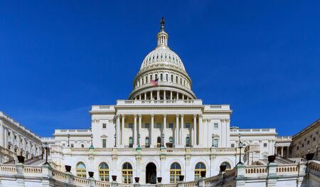 A panoramic view of United States Capitol Building on Capitol Hill in Washington DC, USA.