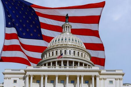 Washington DC Capitol Building on Capitol Hill detail on american flag background USA Stock Photo
