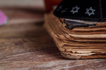 Jewish tradition religion celebration holiday with kippah and shofar Orthodox Jewish prays at the praying book