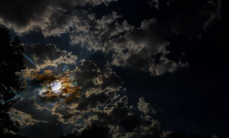 Spooky full moon night sky and clouds