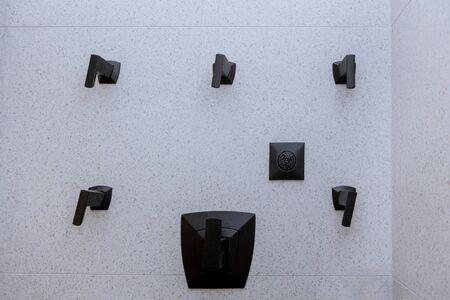 Modern shower bathroom in private, design of interior