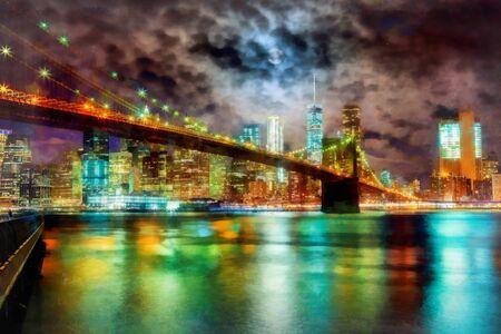 Brooklyn Bridge and Manhattan Skyline At Night, New York City 写真素材 - 129460598