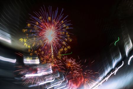 Abstract colored beautiful firework with fantastic light effect on black background