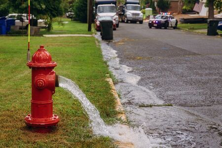 Open in industrial fire hydrant being sprayed strong water