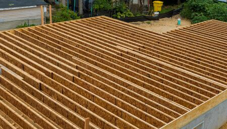 A pattern of floor joist in a house under construction