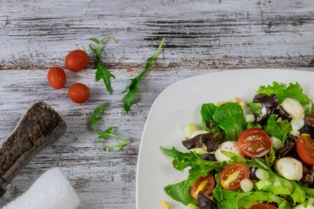 Green salad made with spinach, cherry tomatoes, cheese mozzarella balls. Stockfoto