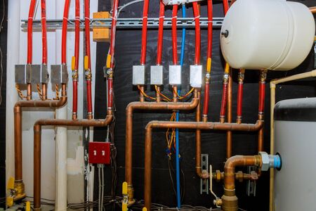 Main boiler piping, independent heating system of house heating system pipes collector of underfloor heating system