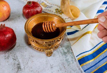 Jewish Holiday Rosh hashanah jewish New Year holiday talit and shofar symbols