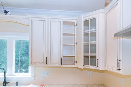 Custom kitchen in various of installation base cabinets kitchen remodel 版權商用圖片