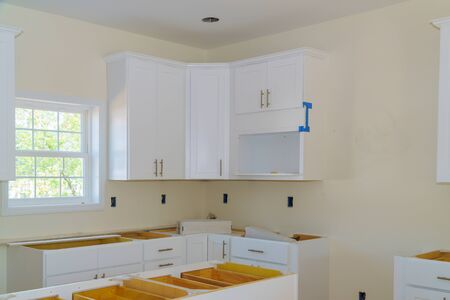 Interior design construction of a kitchen drawers fronts assembling kitchen furniture Stock fotó
