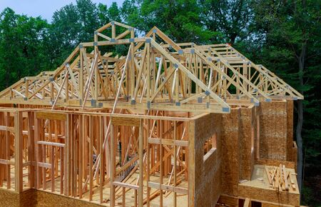 Frame for a progressing house building frame structure on a new development timber