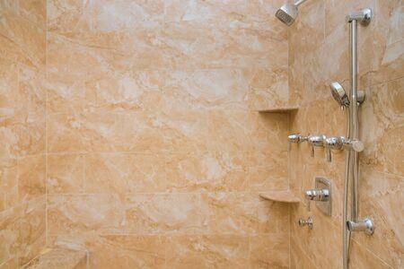 Modern bathroom interior luxury bath tub with shower and massage feature