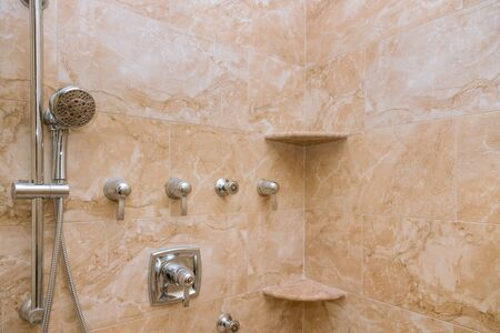 Interior of modern shower head in home design of bathroom. Stock Photo
