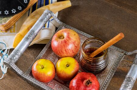 Jewish Holiday Rosh hashanah jewish New Year holiday traditional symbols Banco de Imagens