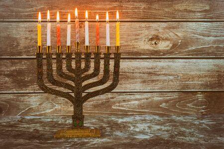 Jewish symbol holiday background Chanukah Menorah Chanukiah