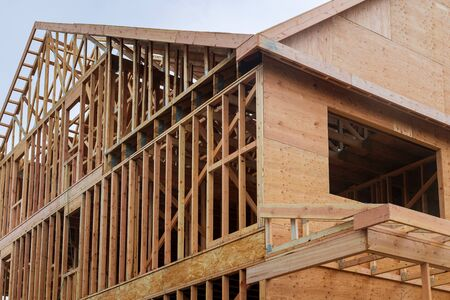 Building construction, wood framing and beam construction structure at new property development