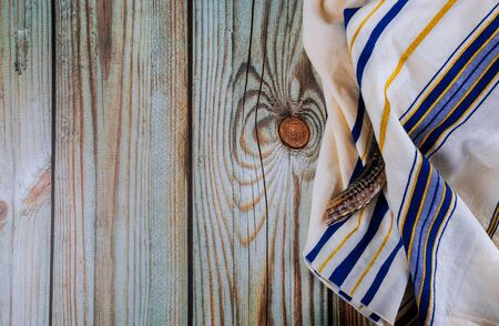 Orthodox Jewish prays shawl tallit and shofar horn jewish religious symbol