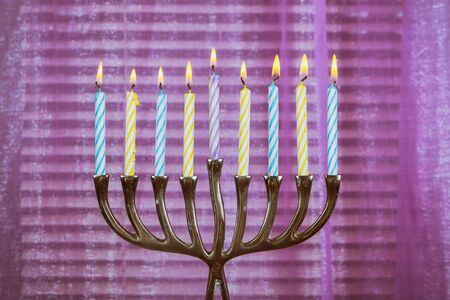 Chanukah candles all in a jewish symbol holiday Stock Photo