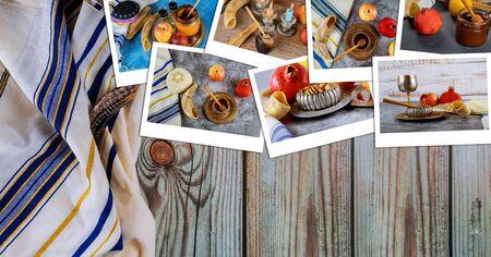 Rosh hashanah with honey and fresh ripe apples. Jewish new year symbols shofar and tallit photo collage