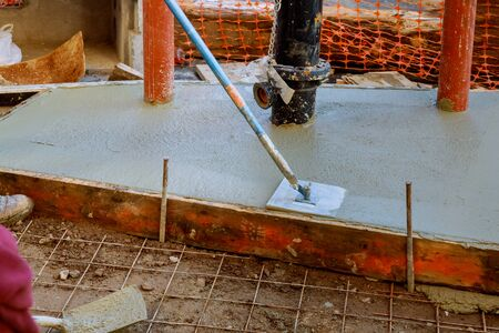 Road infrastructure repair installed sidewalk renewal borders with concrete