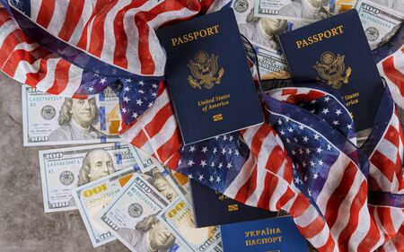 United States of America symbols American passports and flag with the american patriotic Stock Photo - 130815235
