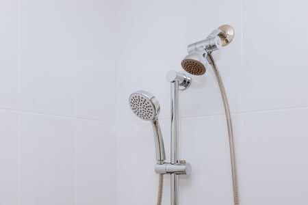 Contemporary bathroom with shower heads white bathroom shower wall