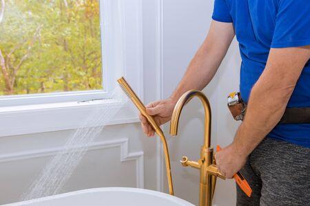 Bathroom remodel installation under home construction installation of new buildings
