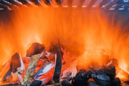 Fire on charcoal red hot burning charcoal preparing for grilling Stock Photo
