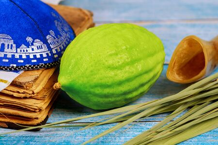 Jewish ritual festival of Sukkot in the jewish religious symbol Etrog, lulav, hadas arava kippah and shofar tallit praying book Stock Photo